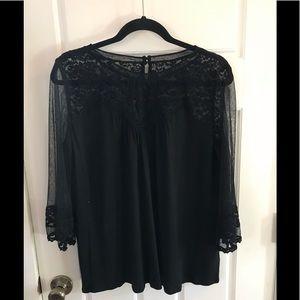 Lace detail knit top